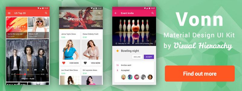 Vonn Mobile Material Design UI Kit