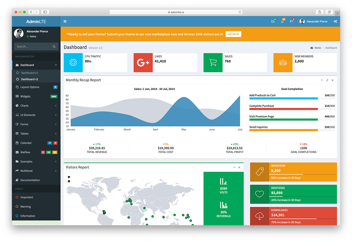 AdminLTE Bootstrap Admin Dashboard Template