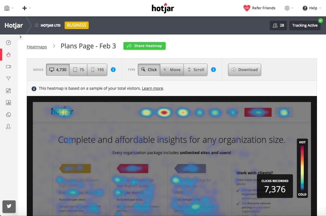 Hotjar - See how your visitors are really using your site