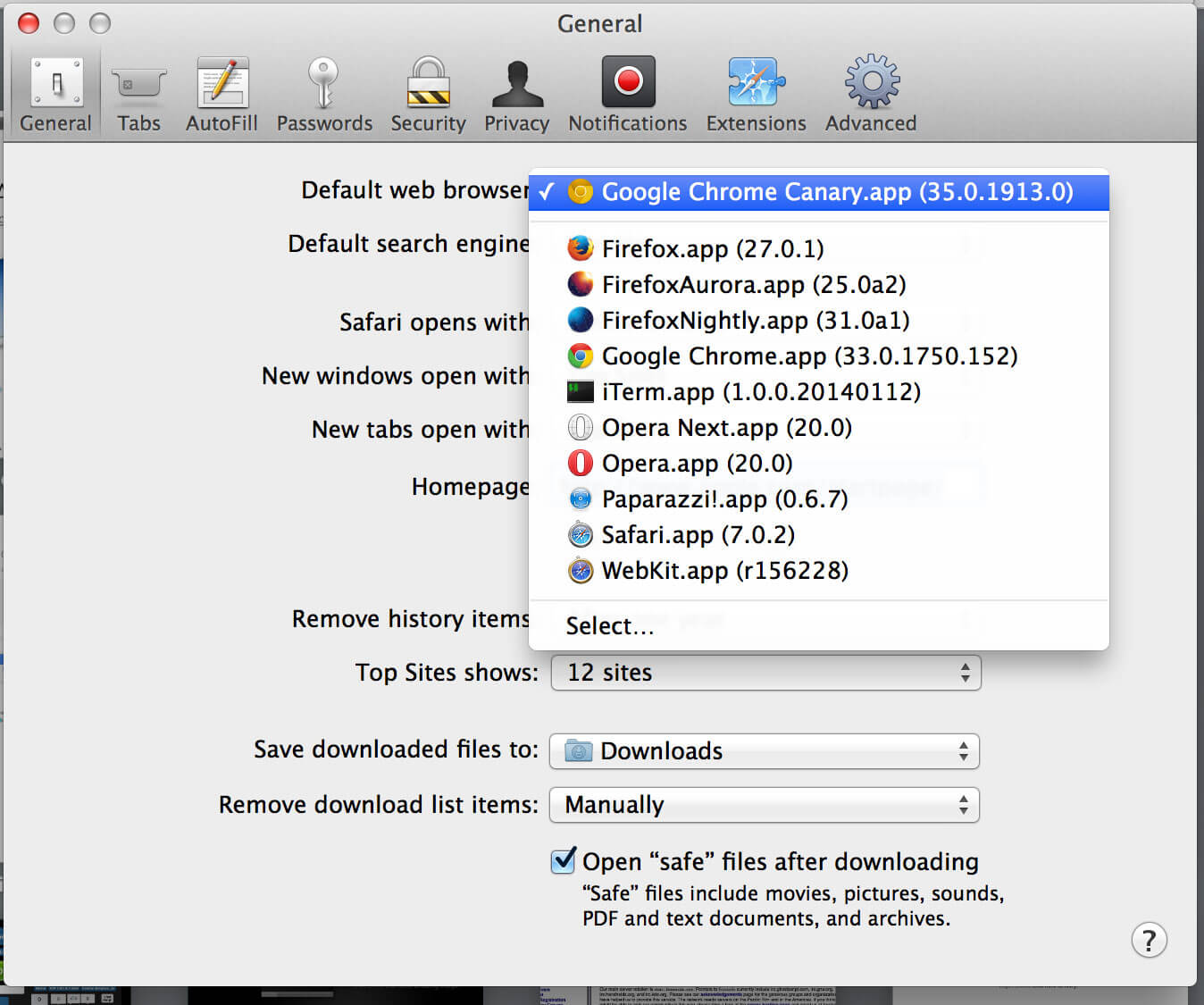 Set Chrome Canary as the Default Browser in OS X