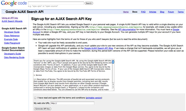 Google AJAX Search API Sign Up
