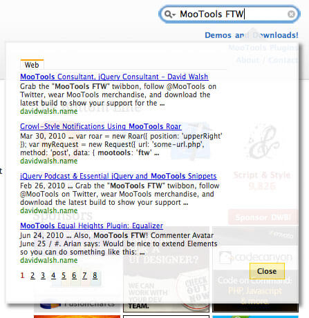 Implement Google AJAX Search API
