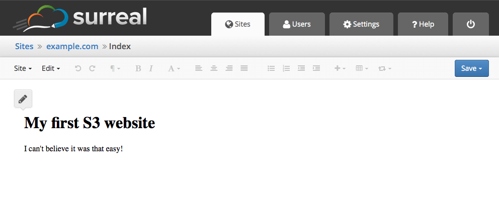 The Live Editor in Surreal CMS