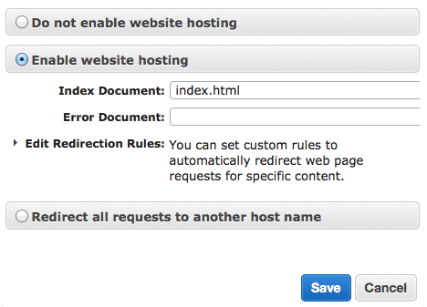 Static Website Hosting settings in the AWS console