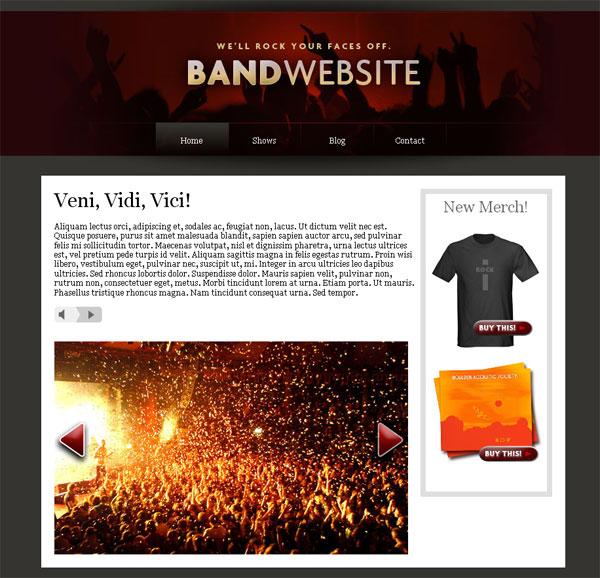 Fantastisch Band Website Vorlage Fotos - Lebenslauf Muster für ...