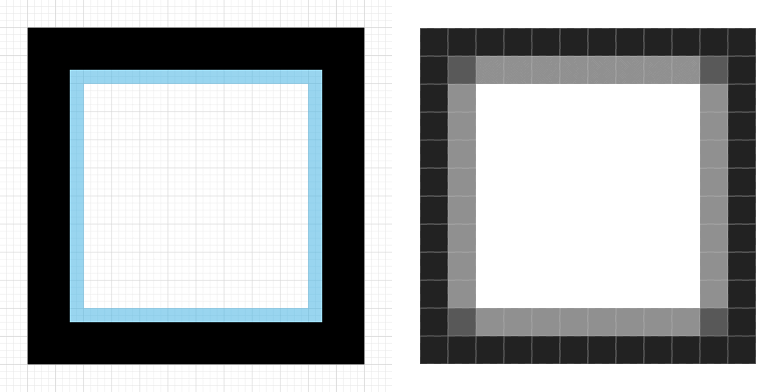 Vector design offset by a half-pixel on the inside, causing blurred pixels on the inner border.