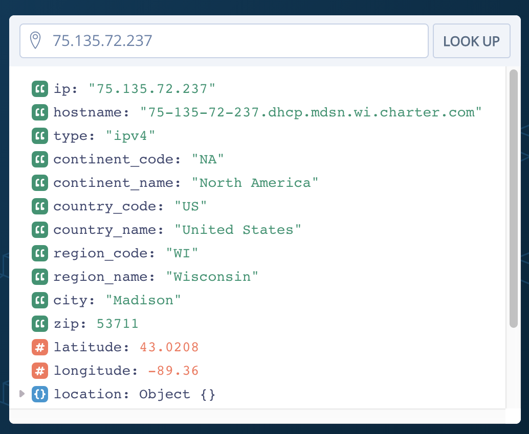 IP Geolocation with ipstack