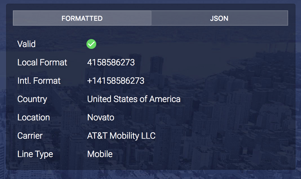 Phone Number Validation with numverify