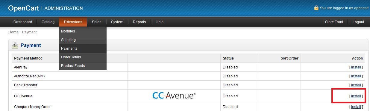 CC Avenue Payment Module for OpenCart