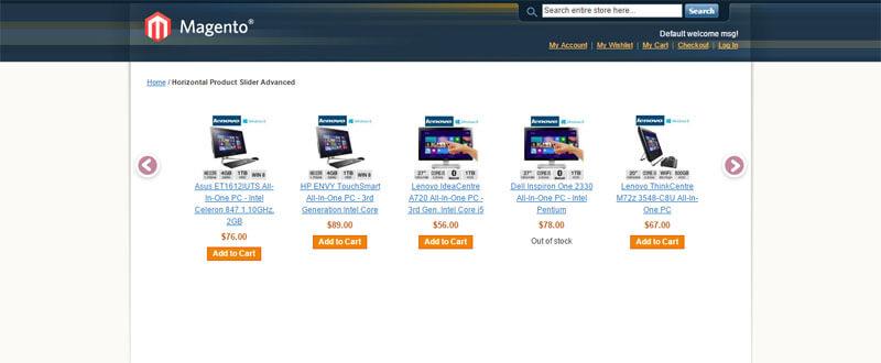 Horizontal Product Slider for Magento