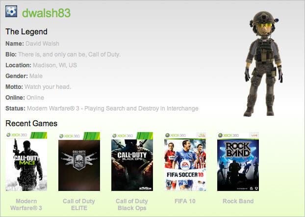 Xbox Live Gamer API